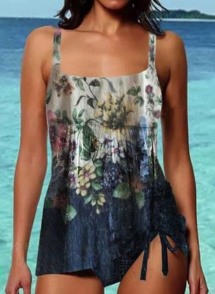 Polyester Knotted Floral Tankinis Swimwear (147224593)