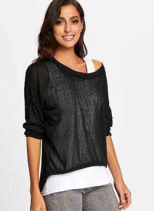 Round Neckline Solid Loose Long None Sweaters