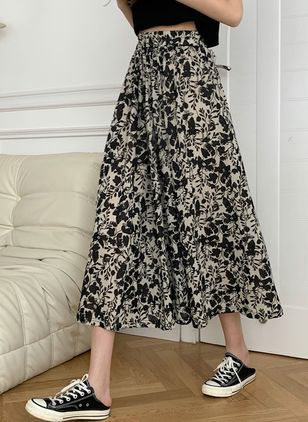 Floral Mid-Calf Casual Pattern Skirts (147152073)
