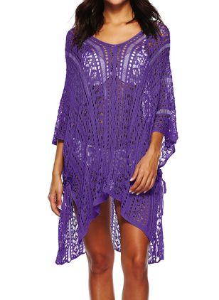 Plus Size Cover-Ups Cotton High Waist Solid Plus Swimwear (1527978)
