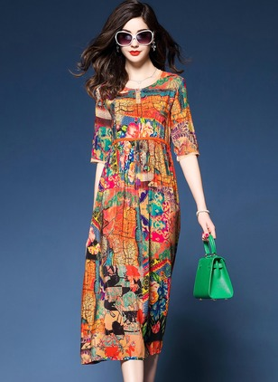 Arabian Floral None Round Neckline A-line Dress (1058593)