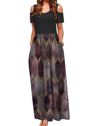 Casual Geometric Round Neckline Maxi X-line Dress (147221493)