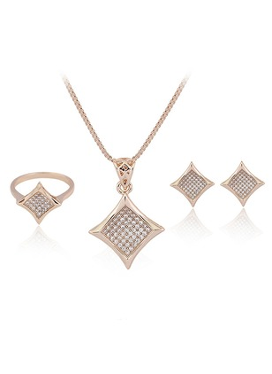 Geometric Gemstone Necklace Earring Ring Jewelry Sets