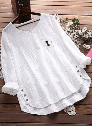 Animal Casual V-Neckline Long Sleeve Blouses