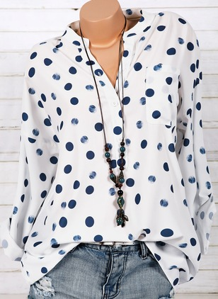 Polka Dot Polyester Collar Long Sleeve Blouses