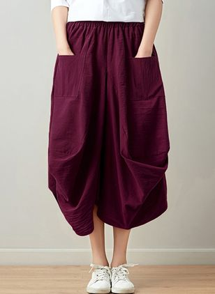 Solid Mid-Calf Casual Pockets Skirts