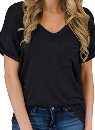Solid V-Neckline Short Sleeve Casual T-shirts (4228999)