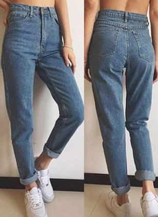 Casual Straight High Waist Polyester Jeans (100037730)