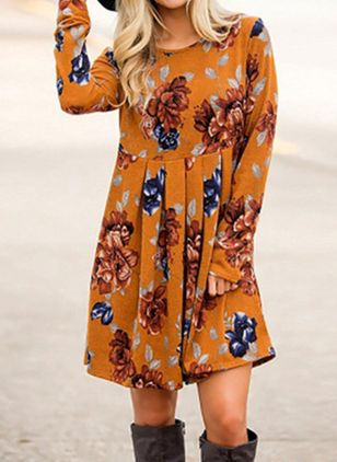 Casual Floral Tunic Round Neckline Shift Dress (100132688)