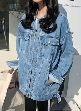3/4 Sleeves Collar Buttons Denim Jackets Coats