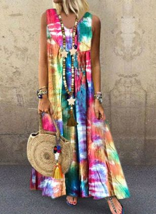 Boho Color Block V-Neckline Sleeveless Maxi Dress (101102460)