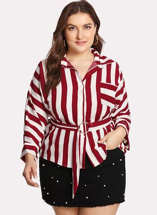 Plus Size Stripe Casual Collar Long Sleeve Blouses