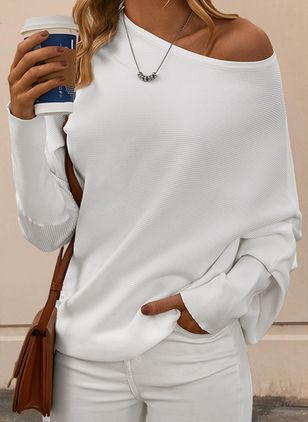 Solid Casual Oblique Neckline Long Sleeve Blouses (101398977)