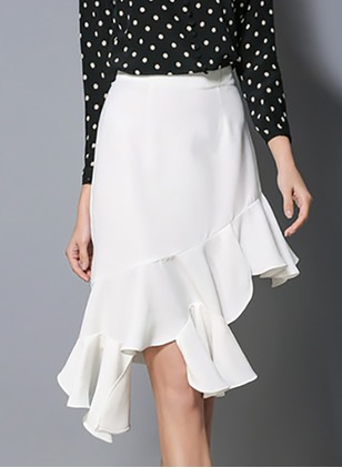 Polyester Solid High Low Elegant White Skirts