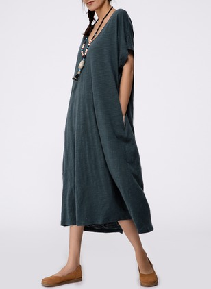 Casual Solid V-Neckline Maxi A-line Dress (1047785)