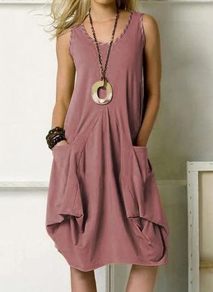 Casual Solid Tunic Round Neckline A-line Dress (4043985)