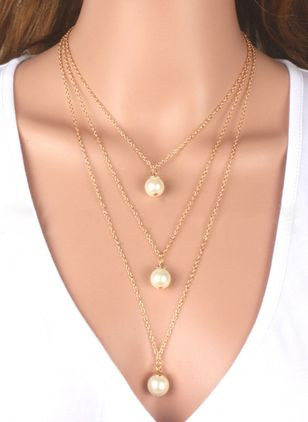 Casual Geometric Pearls Pendant Necklaces (1466746)