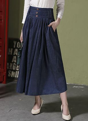 Solid Mid-Calf Elegant Buttons Pockets Skirts