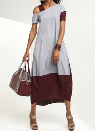 Color Block Short Sleeve Midi X-line Dress