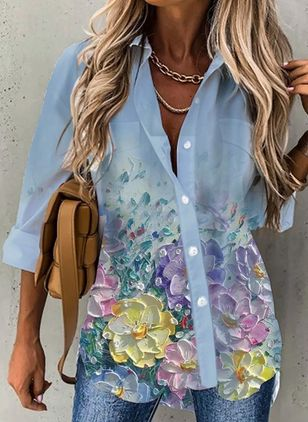 Floral Casual V-Neckline Long Sleeve Blouses (147137678)