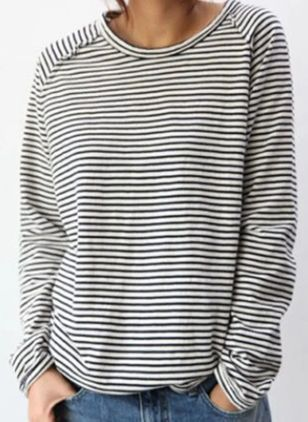 Stripe Casual Round Neckline Long Sleeve Blouses (107561185)