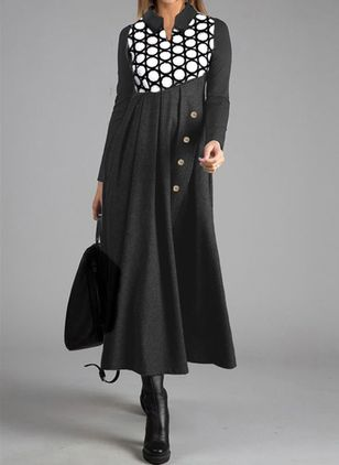 Casual Polka Dot Tunic Round Neckline A-line Dress (107519898)
