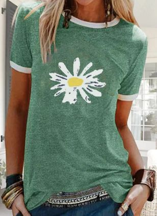 Floral Round Neck Short Sleeve Casual T-shirts