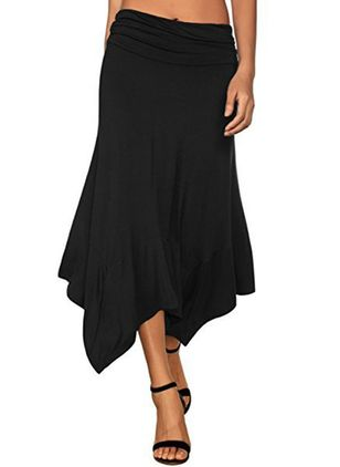 Solid Mid-Calf Casual Skirts (1298155)
