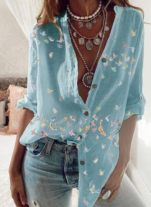 Animal Casual V-Neckline Long Sleeve Blouses (112237425)