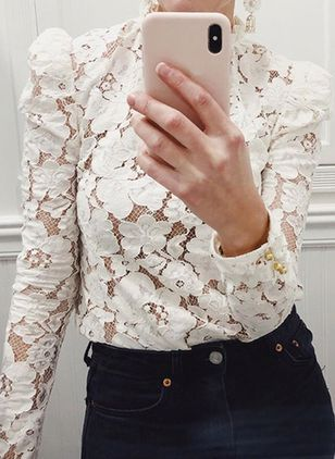 Floral Casual Round Neckline Long Sleeve Blouses (4662352)