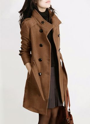 Long Sleeve Collar Sashes Buttons Pockets Trench Coats