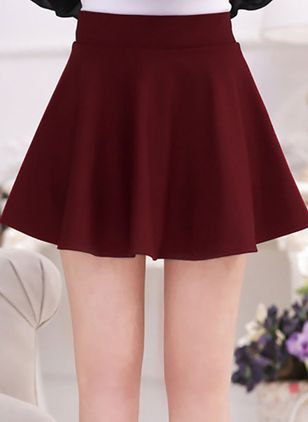 Solid Mini Cute None Skirts