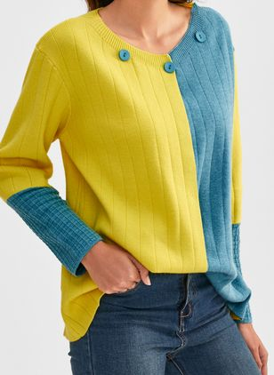 V-Neckline Color Block Casual Loose Regular Buttons Sweaters (1440221)
