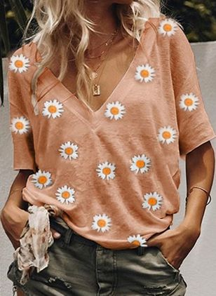 Floral V-Neckline Short Sleeve Casual T-shirts (4229406)