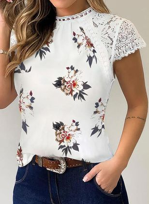 Floral Round Neck Short Sleeve Elegant T-shirts (4219607)