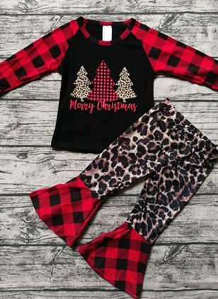 Girls' Christmas Alphabet Daily Long Sleeve Clothing Sets (118208050)
