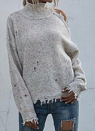 High Neckline Solid Casual Loose Regular Hollow Out Sweaters (146154577)