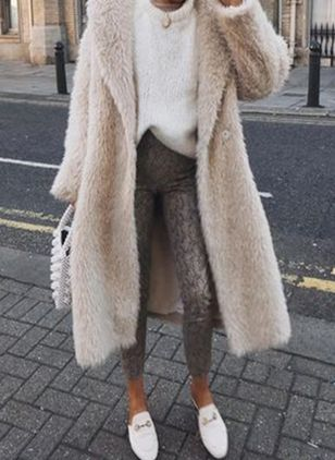 Long Sleeve Lapel Fur Coats (104148399)