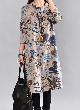 Cotton Linen Floral Long Sleeve Mid-Calf Casual Dresses  ...