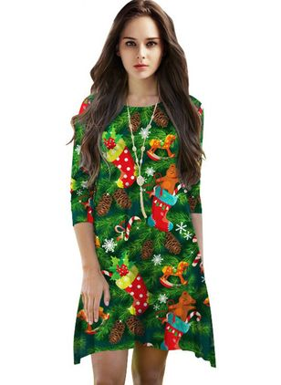 Character 3/4 Sleeves Knee-Length Shift Dress