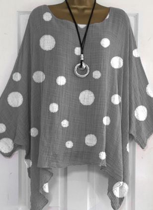 Polka Dot Casual Round Neckline Long Sleeve Blouses (147058614)