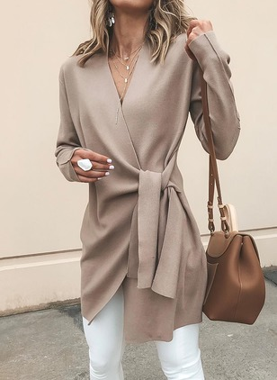 Long Sleeve V-neck Sashes Wrap Coats