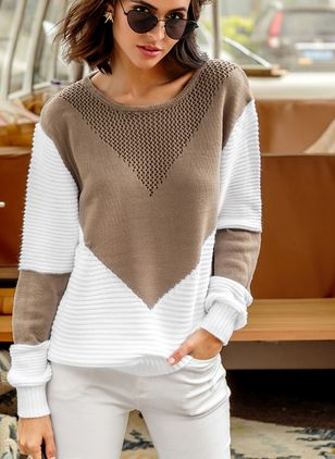 Round Neckline Color Block Loose Shift Sweaters (1256397)