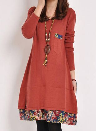 Casual Floral Tunic Round Neckline A-line Dress (107561397)