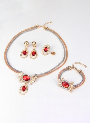 Floral Gemstone Necklace Earring Bracelet Brooch Jewelry Sets