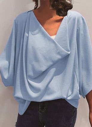 Solid Casual Draped Neckline 3/4 Sleeves Blouses (100447160)