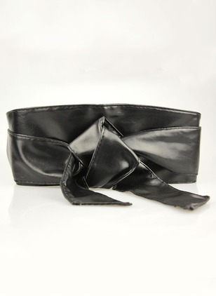 Leatherette Bow Solid Belts