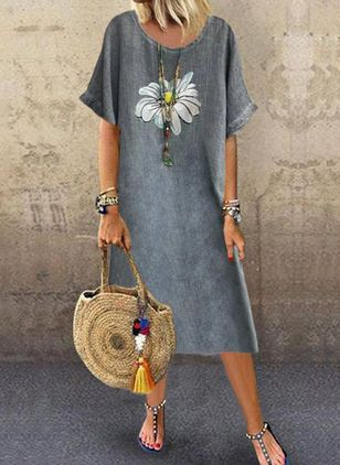Casual Floral Tunic Round Neckline A-line Dress (4073798)