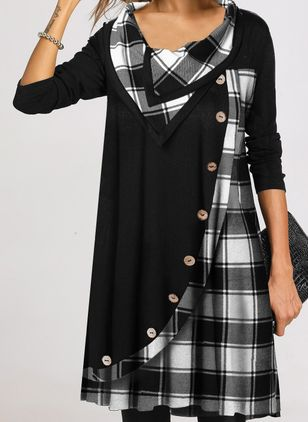 Casual Plaid Tunic Draped Neckline Shift Dress (109973675)