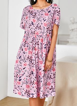 Casual Floral Tunic Round Neckline A-line Dress (4265297)